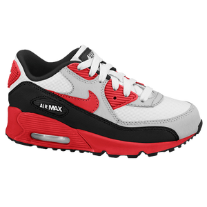 Nike Air Max 90 - Boys' Preschool - White/Black/Metallic Silver/Light Crimson