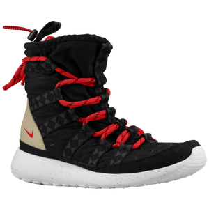 Nike Roshe Run Hi Sneakerboot - Women's - Black/Sail/Linen/University Red