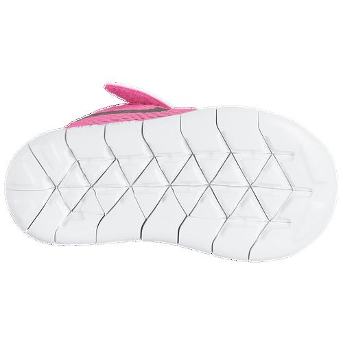 be6f3330f83e1 Nike Free RN Girls Toddler Running Shoes Pink Blast Metallic Silver White  Black