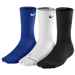Nike 3 Pack Dri-Fit Fly Crew 1 Sock - Men's - Game Royal/Black/White