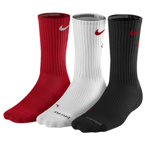 Nike 3 Pack Dri-Fit Fly Crew 1 Sock - Men's - University Red/White/Black