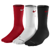 Nike 3 Pack Dri-Fit Fly Crew 1 Socks - Men's - Red / White