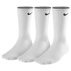 Nike 3 Pack Moisture MGT Cushion Crew Sock - Men's - All White / White