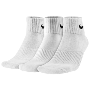 Nike 3 Pack Moisture MGT Cushion Quarter Sock - Men's - White/Grey