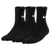 Nike 3 Pack Moisture MGT Cushion Crew Socks - Boys' Grade School - All Black / Black