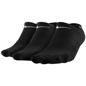Nike 3 Pack Cotton Cush No Show w/Moisture - Women's - Black/White