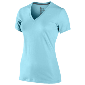 Nike Slim Fit Dri-Fit Cotton V-Neck T-Shirt - Women's - Glacier Ice