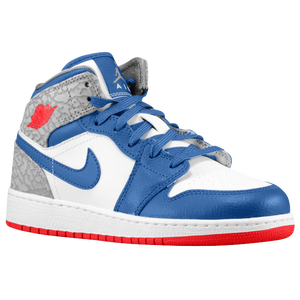 Jordan AJ1 Mid - Boys' Grade School - White/True Blue/Cement Grey/Fire Red