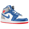 Jordan AJ1 Mid - Boys' Grade School - White / Blue
