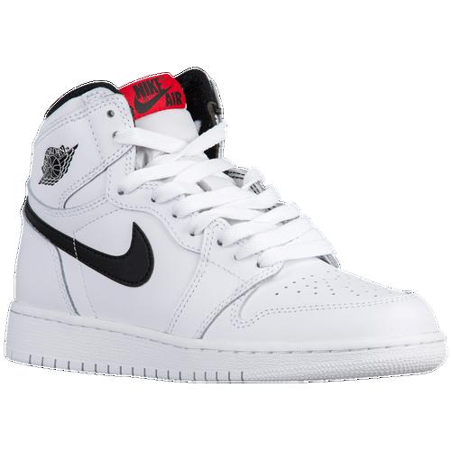5110cbc01846 durable service Jordan Retro 1 High OG Boys Grade School Basketball Shoes  White Black White