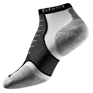 Thorlo Cushioned Heel Micro Mini Running Socks - Black/White/Grey