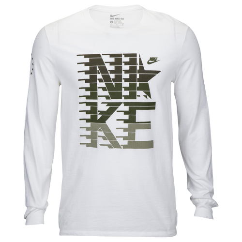 nike graphic long sleeve t shirt men 39 s casual clothing white. Black Bedroom Furniture Sets. Home Design Ideas