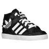 adidas Originals Hard Court Hi Strap - Boys' Toddler - Black / White