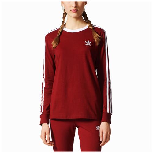 Adidas originals 3 stripes long sleeve t shirt women 39 s for Burgundy long sleeve t shirt womens