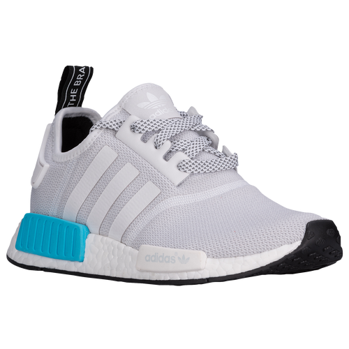 adidas Originals NMD Runner Boys Grade School Running Shoes  White White Bright Cyan free b2dcab35f
