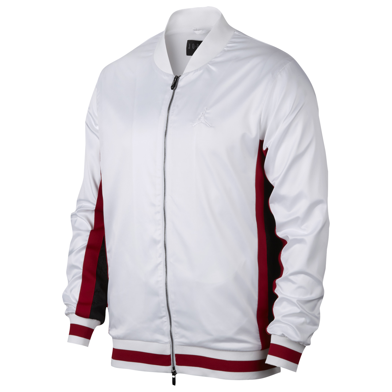 Jordan Satin Jacket - Men's Basketball - White/Black/Gym Red A0938100