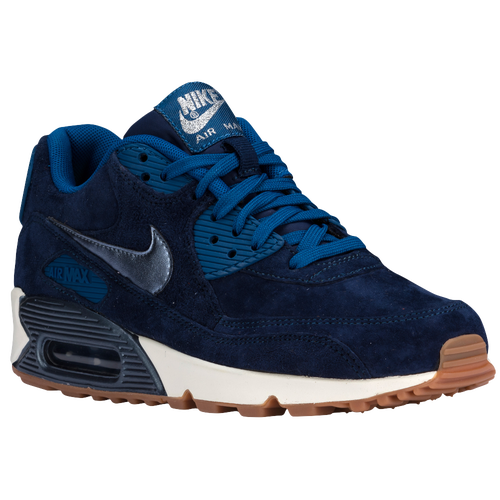 online store 10403 eff83 Nike Air Max 90 Womens Running Shoes Midnight Navy Metallic Blue Silver  Ghost