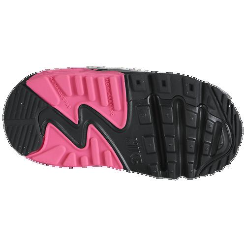 7326dac869ba8 Nike Air Max 90 Girls Toddler Running Shoes Metallic Silver Hyper  Pink Black