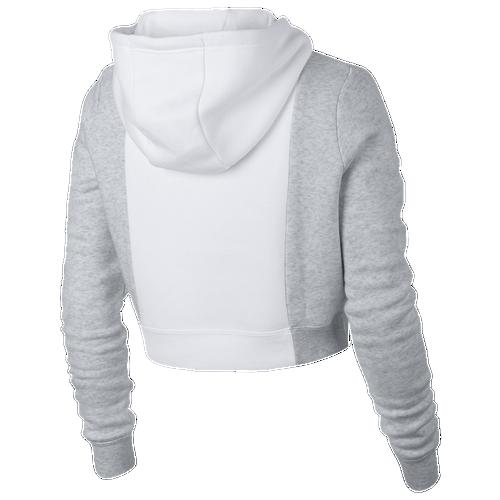 nike rally metallic air crop hoodie women 39 s casual clothing white birch heather white. Black Bedroom Furniture Sets. Home Design Ideas