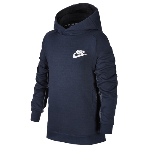 nike av15 pull over hoodie boys 39 grade school casual clothing obsidian black white. Black Bedroom Furniture Sets. Home Design Ideas