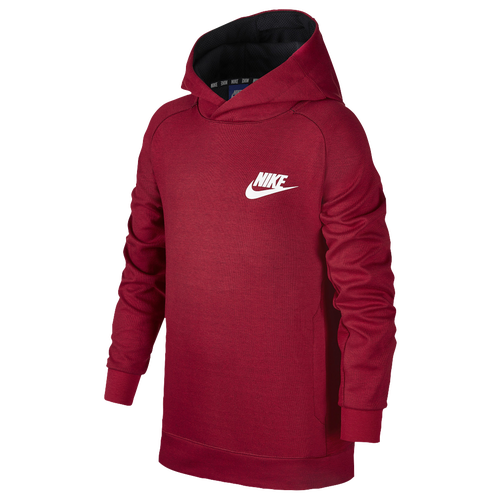 nike av15 pull over hoodie boys 39 grade school casual clothing tough red black white. Black Bedroom Furniture Sets. Home Design Ideas