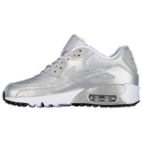 22976e644 85%OFF Nike Air Max 90 Girls Grade School Running Shoes Metallic  Platinum Metallic