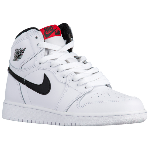 5110cbc01846 durable service Jordan Retro 1 High OG Boys Grade School Basketball Shoes  White Black White
