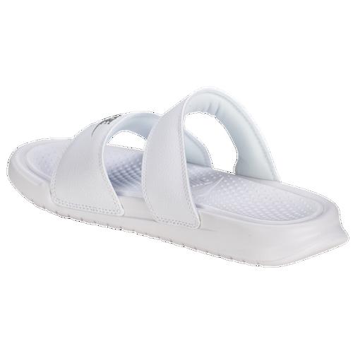 free shipping 25840 47b7f denmark deals promotions e54b5 f7e45  greece nike benassi duo ultra slide  womens casual shoes white metallic silver 47019 95352
