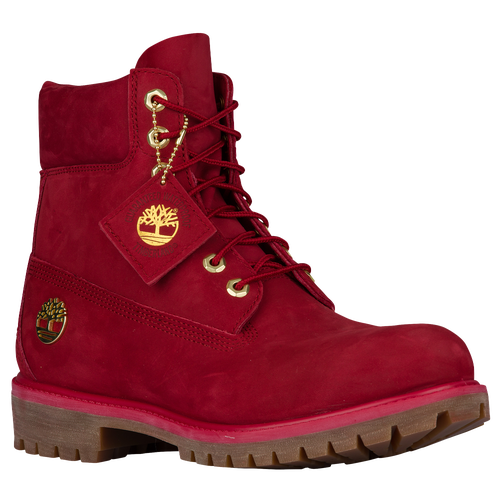 Red and gold timberland boots