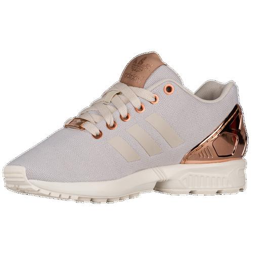 af18174b2 adidas Originals ZX Flux Boys Grade School Running Shoes White Pearl  Grey Copper Metallic